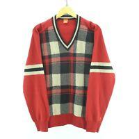 HUGO BOSS Men's Sweater Size L in Red Color Plaid V Neck Wool Long Sleeve EF3649
