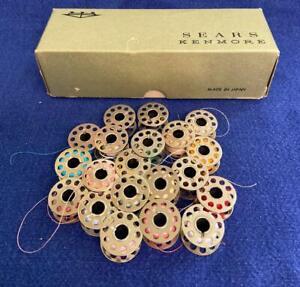Vintage 20 Metal Bobbins w 10 Holes Various Colors of Thread w Sears Kenmore Box