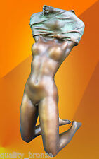 BRONZE STATUE NAKED NOUVEAU GIRL BRONZE FIGURE FIGURINE HOT CAST NUDE SCULPTURE