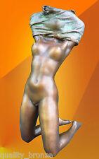 Statua in Bronzo Ragazza Nuda Nouveau Bronzo Scultura Figura Figurina