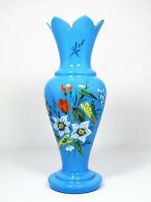 Antique Victorian Bohemian Harrach Blue Art Glass Vase Enameled Butterfly Flower