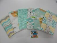 Burp Cloths Mint Two x Two 6 pack Toweling Backed 100% Cotton GREAT GIFT IDEA!!