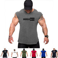 Men's Muscle Fitness Top Vests Workout Wear Gym Bodybuilding Tank Tops Clothes