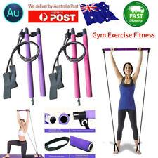 Portable Pilates Bar Kit W/Resistance Band Adjustable Exercise Toning Gym~TOP #T