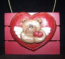 Eddie Walker Card Holder Basket Bear Heart Gold Handle Valentine Day Red love