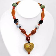 Carnelians & Corals Pleasant Heart Necklace w/Agates,