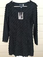 QVC Antthony Women Tunic Top NWT Black Ruffles Metallic Silver Dressy X- Small
