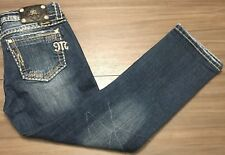 Miss Me Womens Easy Capri Distressed Denim Jeans Fleur de Lis Pockets 28W x 26L