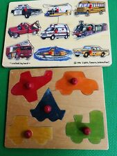 Set of 2 Vtg  Vehicles Wood Puzzle Peg 14 Piece COLLECTIBLE