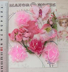RASPBERRY & PINK 4 Styles 12 Paper & Silk Flowers & Butterfly 15-40mm across VC1