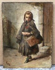 Tableau Ancien Huile Portrait Jeune Fille Panier Attribué à Eugène Giraud XIXe