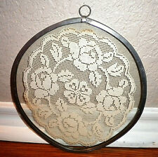 New listing Framed Shabby Chic White Lace Doily Display in Metal/ Pewter Ring Hoop