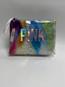 NEW Victoria's Secret PINK Clear With Rainbow Pattern Makeup Bag With Zipper
