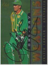 SIGNED CARD - JUSTIN LANGER - 1996 FUTERA - AUSTRALIA