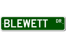 BLEWETT Street Sign - Personalized Last Name Sign