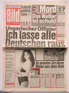 Bild Zeitung vom 12.8.1989, Deborah Caprioglio, Klaus Kinski, Ben Johnson,