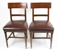 A Pair of Antique Regency Oak and Leather Chairs - FREE Shipping  [PL4346 ]