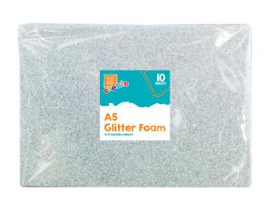 10 Pack A5 Glitter Foam Sheets Kids Art Craft Assorted Colours