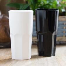 8 x 30cl White Black Reusable Plastic Drinking Glasses Hi-Ball Tumblers Bar Cup