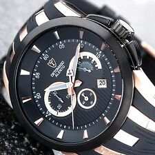 DETOMASO ALENTO DT2036-B Chronograph Date Stainl.Steel SiliconeBand Rosegold New