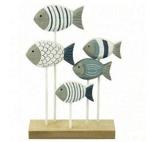 5 Wooden Shoal of Fish Ornament Shabby Coastal Nautical Design  23.5 X 17 cm