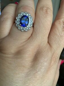 AAAA tanzanite and E-F VS2 white diamond in 950 Platinum ring
