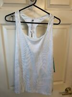 New Balance Women's Large Active Tank Top Training White Green Keyhole
