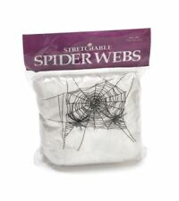 Spider Web White Stretchable Cobwebs with 4 Spiders Halloween Decorations