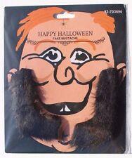 BLACK Fake Beard Sideburn Mustache Facial Hair Halloween Costume Accessory New