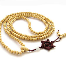 Tibet Buddhist 216 Wood Prayer Beads Mala Necklace