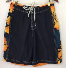 Speedo Mens Swim Trunks Board Shorts Hawaiian Print Blue Orange Floral Size M