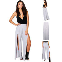 NEW Tall Women Flowy Palazzo Ex Boohoo Wide Leg Pants Yoga Trousers Split Pants