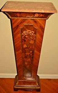 Antique French Bronze Dore Floral Inlaid Marble Top Pedestal Stand Console Table