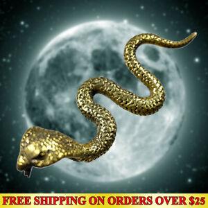 Miniature Cobra Lucky Snake Brass Thai Amulet Wealth Talisman Hunting Money Luck