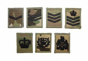 British Army & Marines MTP Multicam Rank Patch Badge UBACS ID panel Black thread