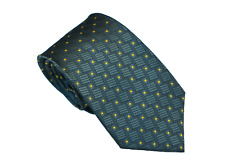 Men's classic green and yellow  geometric pattern  woven tie
