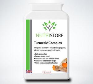Organic Turmeric Curcumin Complex High Curcuminoids with Cayenne 90 Capsules