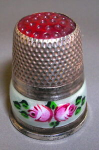 Antique Thimble Guilloche Enamel .935 Silver Red Top Hallmarked 2 figures
