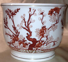 "COALPORT INDIAN TREE CORAL LARGE 5.5"" CACHEPOT RUST COLORED FLOWERS GOLD TRIM"