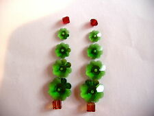 CHRISTMAS TREE EARRINGS KIT made with SWAROVSKI CRYSTAL BEADS for 5 pair, GREEN