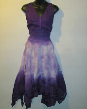 Dress XL 1X PLUS Sundress Purple Lavender Empire Handkerchief Layered Hem 828