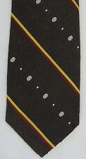 Johnny Carson Mens Neck Tie Necktie Polyester Poly Brown Red Yellow White Stripe
