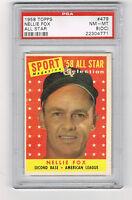 1958 TOPPS #479 NELLIE FOX *PSA 8 OC** *HOF *15X ALL-STAR *WHITE SOX #2 RETIRED