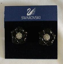 "Swarovski Crystal Clip-On Earrings Black floral 1"" regular $145 elegant button"