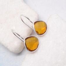 Citrin gold gelb Design Ohrringe Hänger Haken Ohrhänger 925 Sterling Silber neu