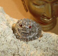 BARONG Ring Silber 925 KÖNIG DER GEISTER Beschützer Granat BALI Gr 20,3/ 64mm G2
