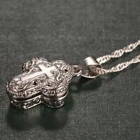 Locket 925 Silver Magnet Cross Pendant Chain Necklace Chocker Women Men Jewelry