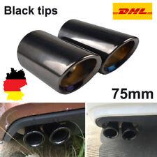 2× 75mm Schwarz Edelstahl Endrohre Auspuffe Auspuffblende Rohr für Audi A4 B8 Q5