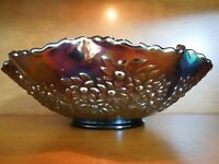 Fenton Carnival Glass Orange Trees & Cherries Footed Bowl, 1975
