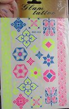 Tatouages éphémères - Motifs géométriques - Fluos (jaune, rose, bleu)